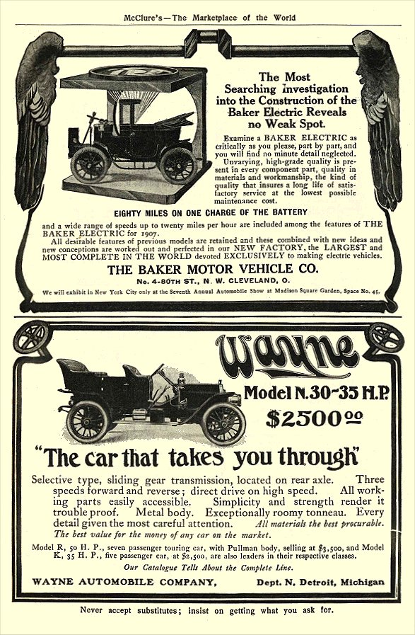 1907 BAKER Electric EIGHTY MILES ON ONE CHARGE THE BAKER MOTOR VEHICLE CO. Cleveland, OHIO McClure's – The Marketplace of the World 1907 6.25″x9.75″