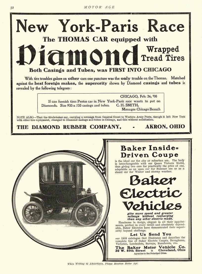 1908 3 5 BAKER Electric Baker Inside=Driven Coupe The Baker Motor Vehicle Co. Cleveland, OHIO MOTOR AGE March 5, 1908 8.5″x12″ page 52