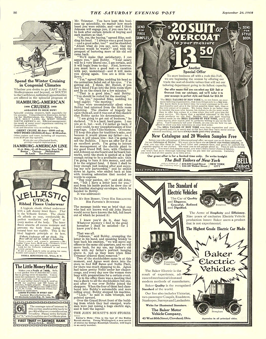 1908 9 26 BAKER Electric The Standard of Electric Vehicles The Baker Motor Vehicle Company Cleveland, OHIO THE SATURDAY EVENING POST September 26, 1908 11″x14″ page 56