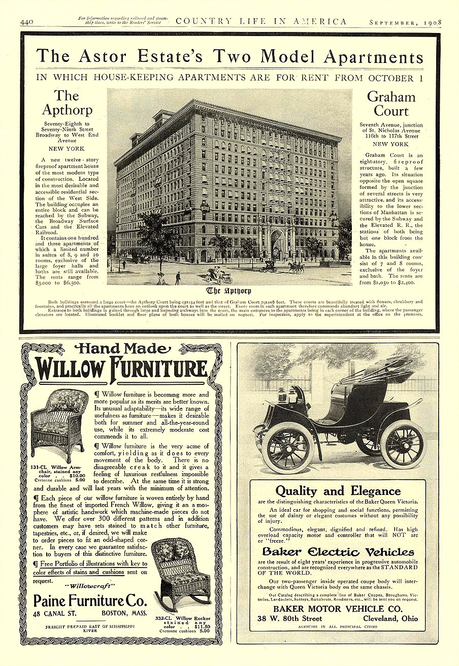 1908 9 BAKER Electric Quality and Elegance THE BAKER MOTOR VEHICLE CO. Cleveland, OHIO COUNTRY LIFE IN AMERICA September 1908 10.25″x14.25″ page 440