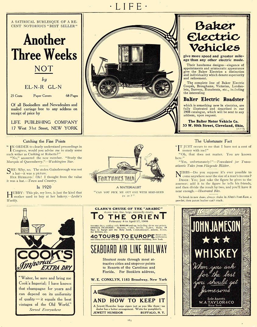 1908 BAKER Electric Baker Electric Roadster The Baker Motor Vehicle Co Cleveland, Ohio LIFE 1908 8.5″x11″ page 183