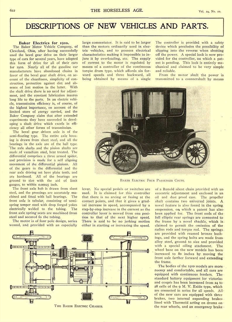 1909 12 1 BAKER Electric BAKER ELECTRIC FOUR PASSENGER COUPE Baker Motor Vehicle Company Cleveland, OHIO THE HORSELESS AGE December 1, 1909 8.25″x12″ page 622