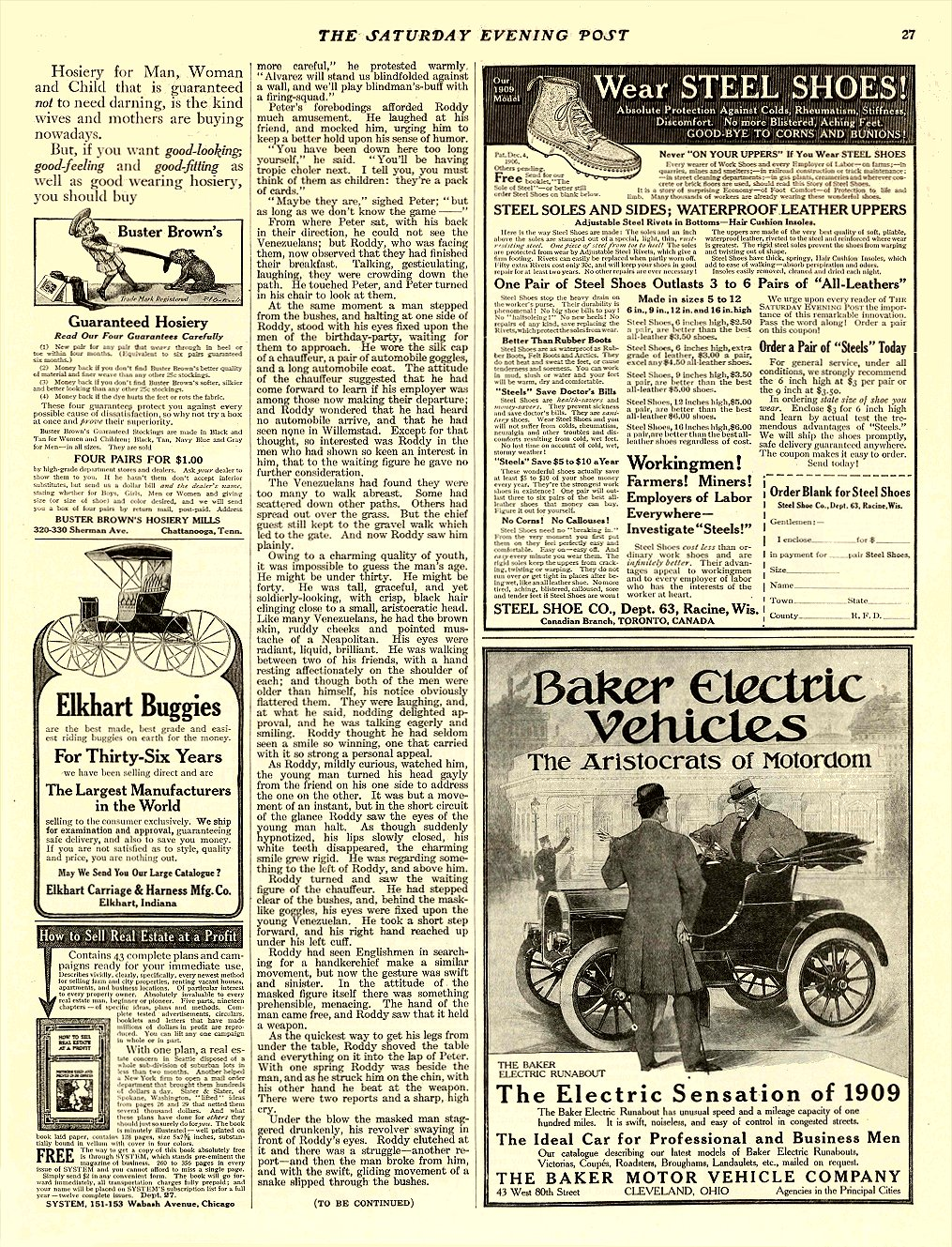 1909 3 20 BAKER Electric The Electric Sensation of 1909 BAKER MOTOR VEHICLE COMPANY Cleveland, OHIO THE SATURDAY EVENING POST March 20, 1909 10.25″x13.5″ page 27