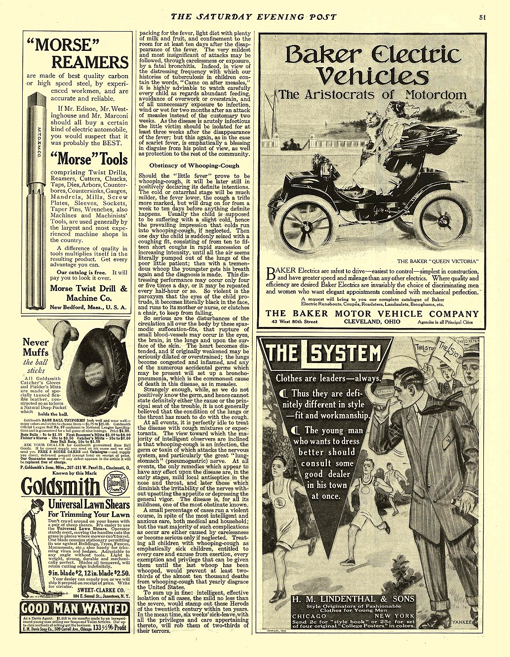 1909 4 24 BAKER Electric The Aristocrats of Motordom BAKER MOTOR VEHICLE COMPANY Cleveland, OHIO THE SATURDAY EVENING POST April 24, 1909 10.25″x14″ page 51