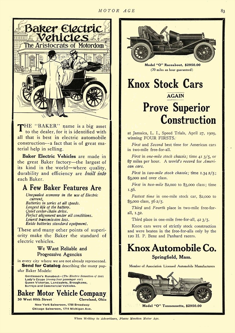 1909 5 13 BAKER Electric The Aristocrats of Motordom BAKER MOTOR VEHICLE COMPANY Cleveland, OHIO MOTOR AGE May 13, 1909 8.5″x11.75″ page 83