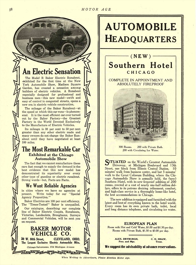 1909 9 28 BAKER Electric An Electric Sensation BAKER MOTOR VEHICLE CO. Cleveland, OHIO MOTOR AGE September 28, 1909 8.5″x11.75″ page 58