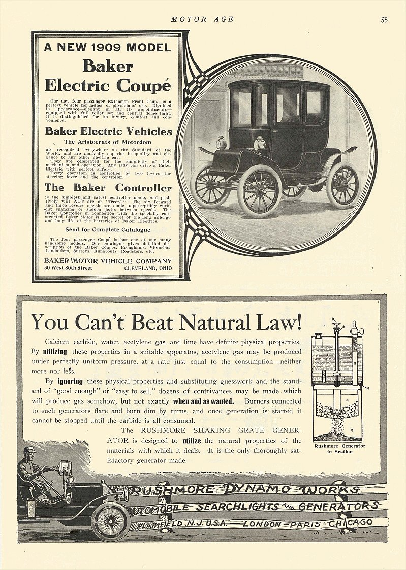 1909 11 5 BAKER Electric A New 1909 Model Coupe The Baker Motor Vehicle Co Cleveland, OHIO MOTOR AGE November 5, 1908 8.5″x12″ page 55