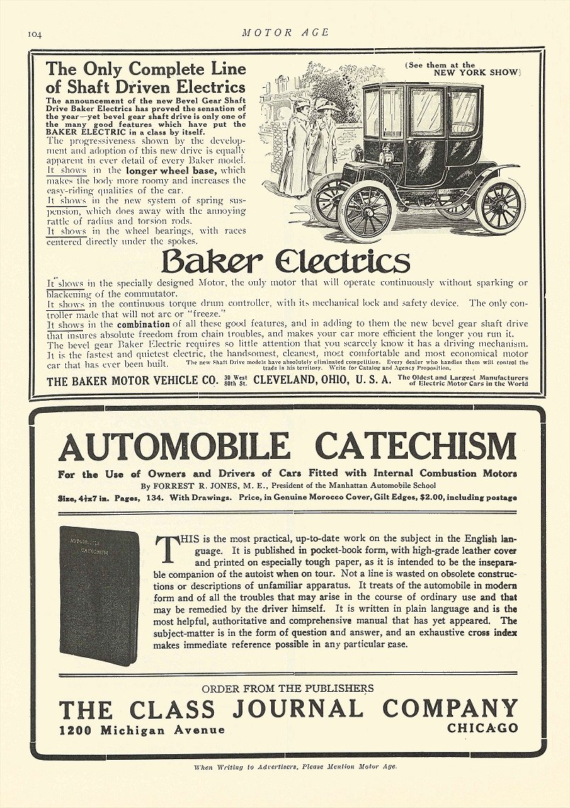 1909 12 9 BAKER Electric Shaft Driven Electrics The Baker Motor Vehicle Co Cleveland, OHIO MOTOR AGE December 9, 1909 8.5″x12″ page 104