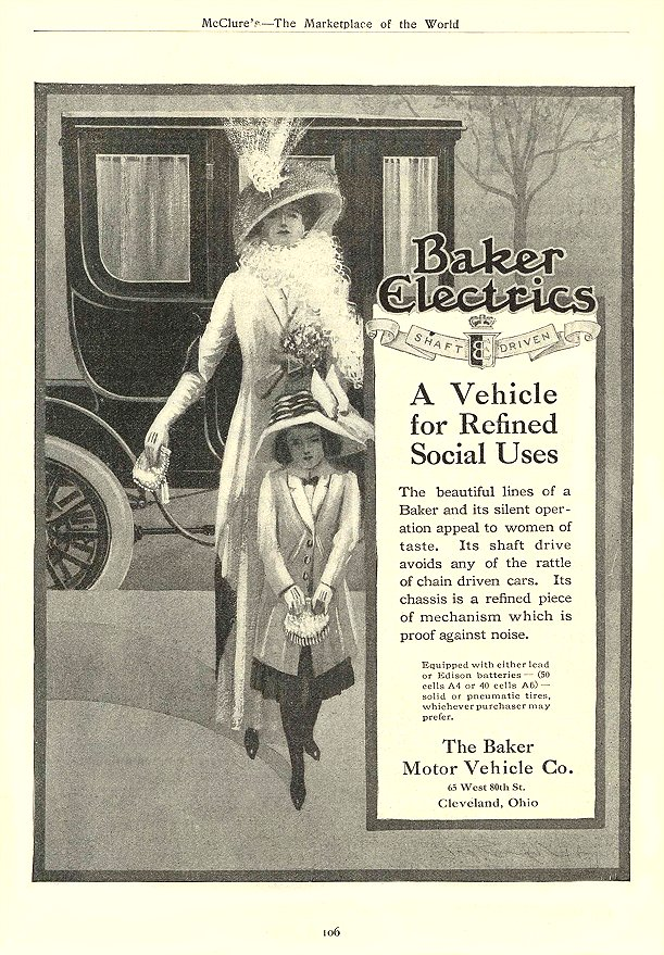 1910 10 BAKER Electric A Vehicle for Refined Social Uses The Baker Motor Vehicle Co. Cleveland, OHIO McClure's—The Marketplace of the World October 1910 6.75″x9.75″ page 106
