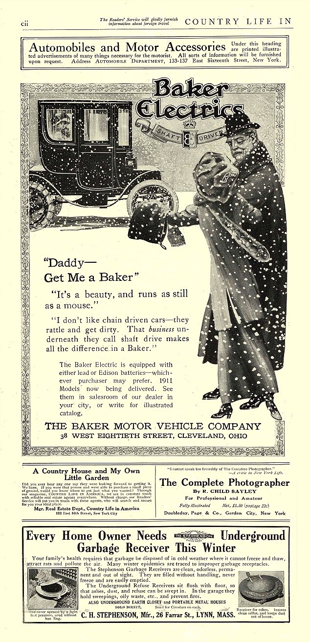 "1910 12 BAKER Electric ""Daddy— Get Me a Baker"" THE BAKER MOTOR VEHICLE COMPANY Cleveland, OHIO COUNTRY LIFE IN AMERICA December 1910 7″x14.25″ page cii"