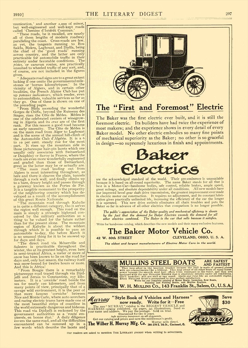 "1910 2 12 BAKER Electric The ""First and Foremost"" Electric The Baker Motor Vehicle Co. Cleveland, OHIO The Literary Digest February 12, 1910 9″x12″ page 297"