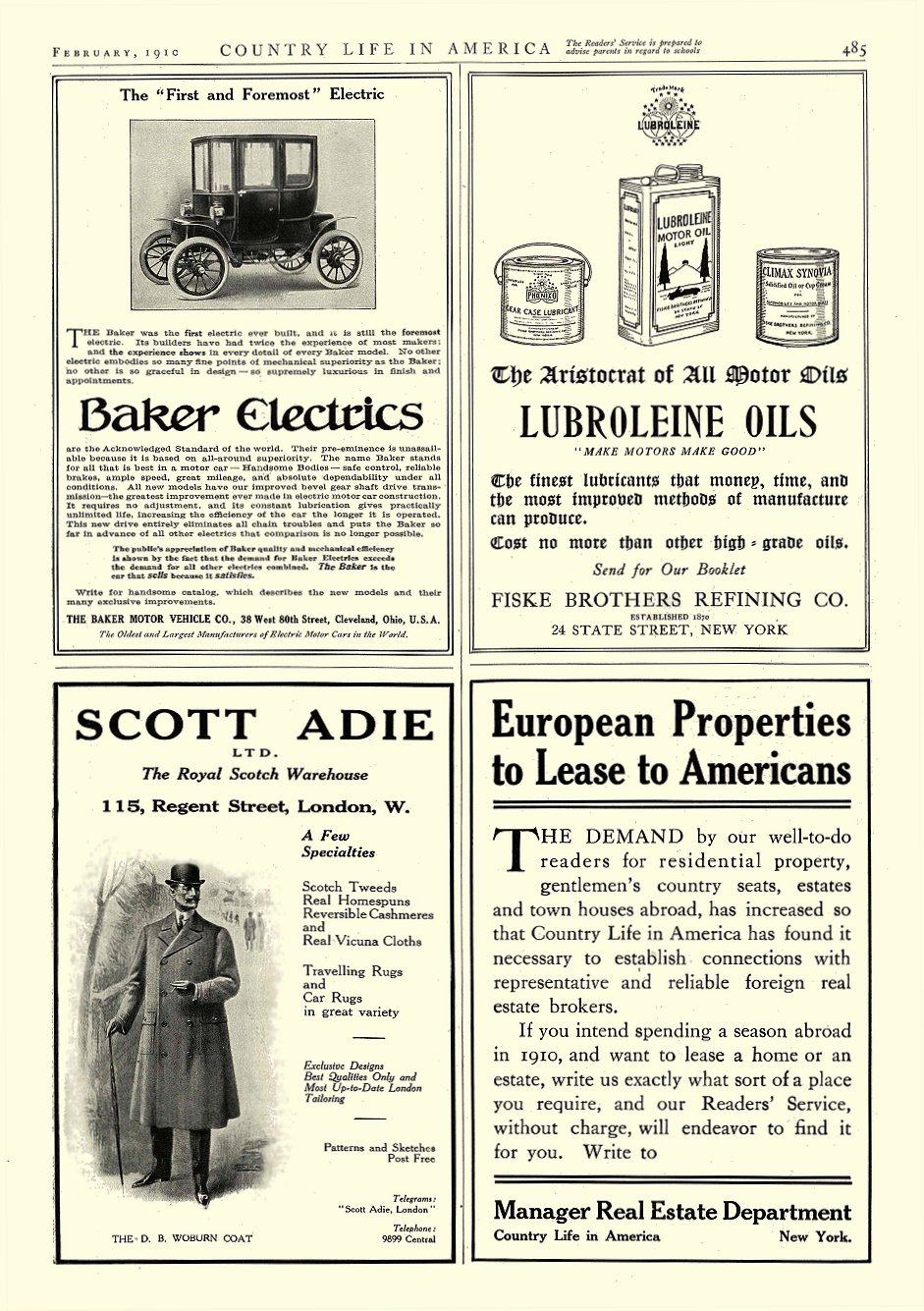 1910 2 BAKER Electric THE NEW 1909 MODEL THE BAKER MOTOR VEHICLE CO. Cleveland, OHIO COUNTRY LIFE IN AMERICA February 1910 10″x14″ page 485