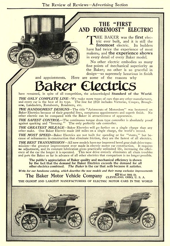 "1910 2 BAKER Electric The ""First and Foremost"" Electric The Baker Motor Vehicle Company Cleveland, OHIO The Review of Reviews—Advertising Section February 1910 6″x8.5″ page 55"