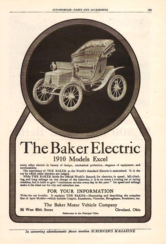 1910 BAKER The Baker Electric 1910 Models Excel Scribner's Magazine Automobile-Parts And Accessories 6.5″x9.5″ page 103
