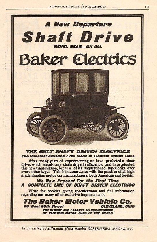 1910 BAKER Baker Electrics Shaft Drive Scribner's Magazine Automobile-Parts And Accessories 6.5″x9.75″ page 143
