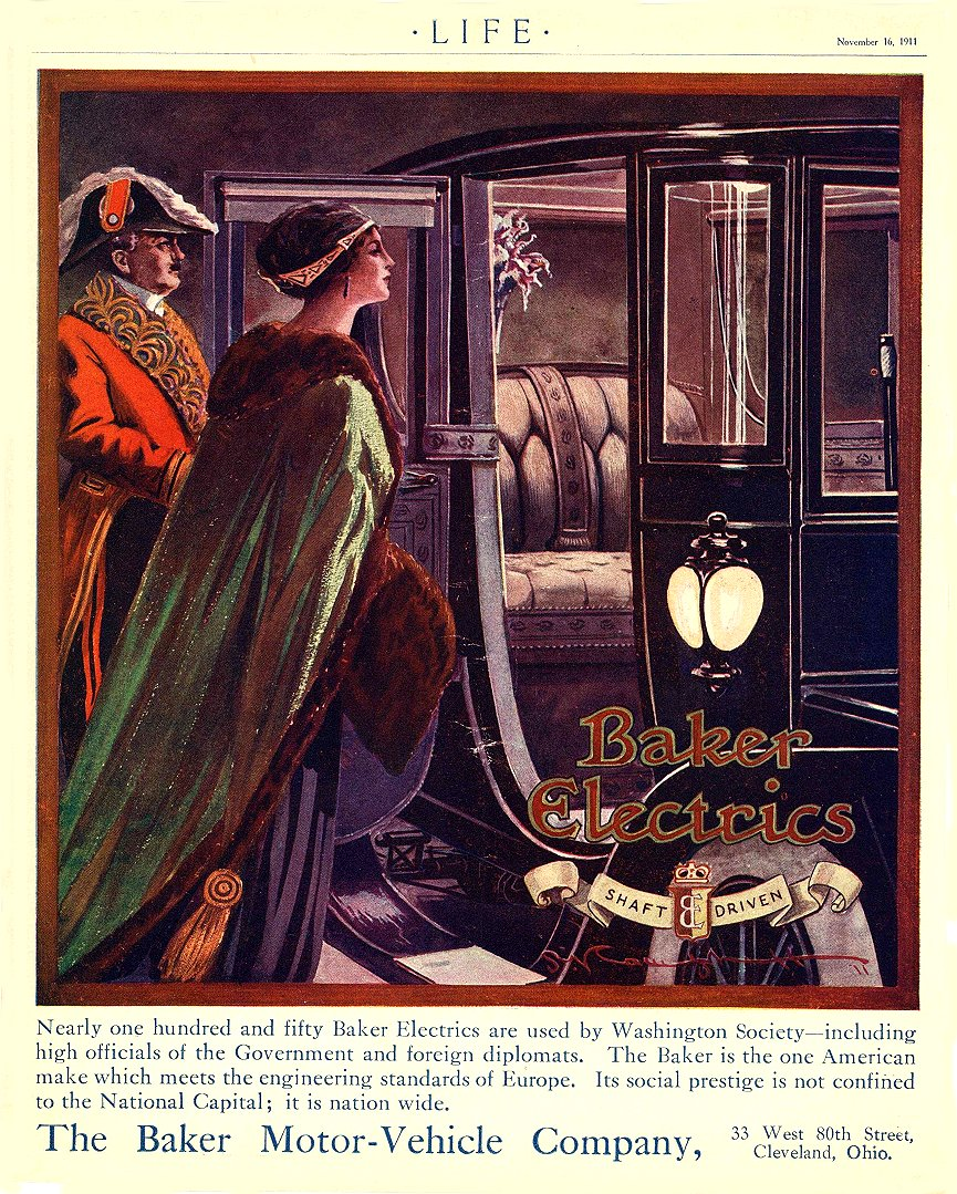 1911 11 16 BAKER Electric used by Washington Society The Baker Motor-Vehicle Company Cleveland, OHIO LIFE November 16, 1911 8.75″x11″