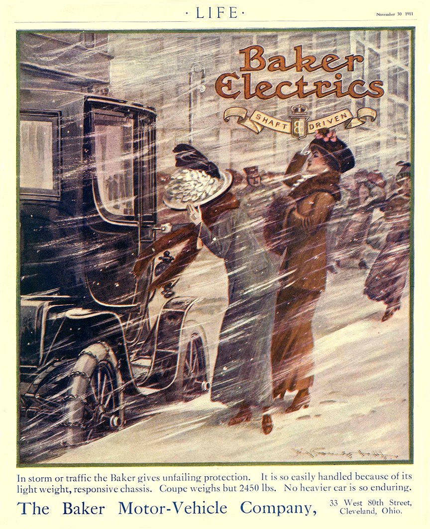 1911 11 30 BAKER Electric Baker gives unfailing protection The Baker Motor-Vehicle Company Cleveland, OHIO LIFE November 30, 1911 8.75″x11″