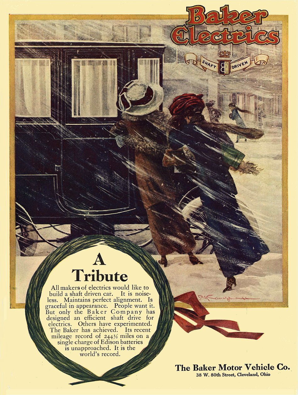 1911 1 15 BAKER Electric A Tribute The Baker Motor Vehicle Co. Cleveland, OHIO COUNTRY LIFE IN AMERICA January 15, 1911 9.5″x13″ Inside cover