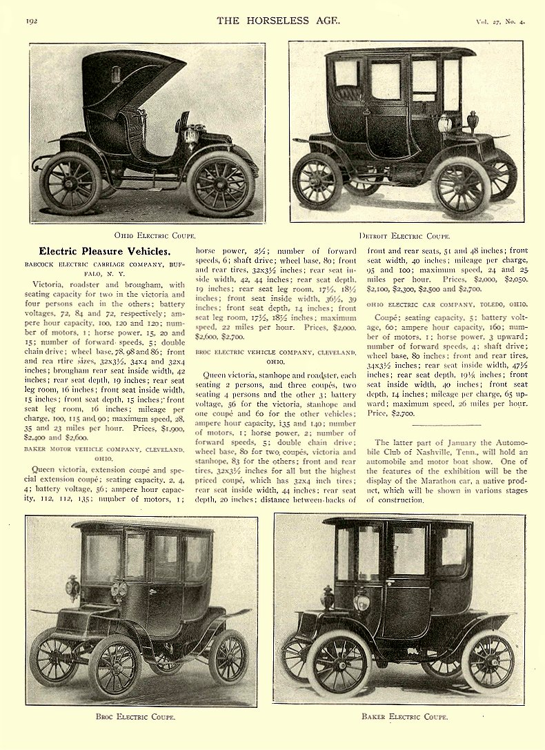1911 1 25 BAKER Electric Electric Pleasure Vehicles THE BAKER MOTOR-VEHICLE COMPANY Cleveland, OHIO THE HORSELESS AGE January 25, 1911 8.5″x12″ page 192