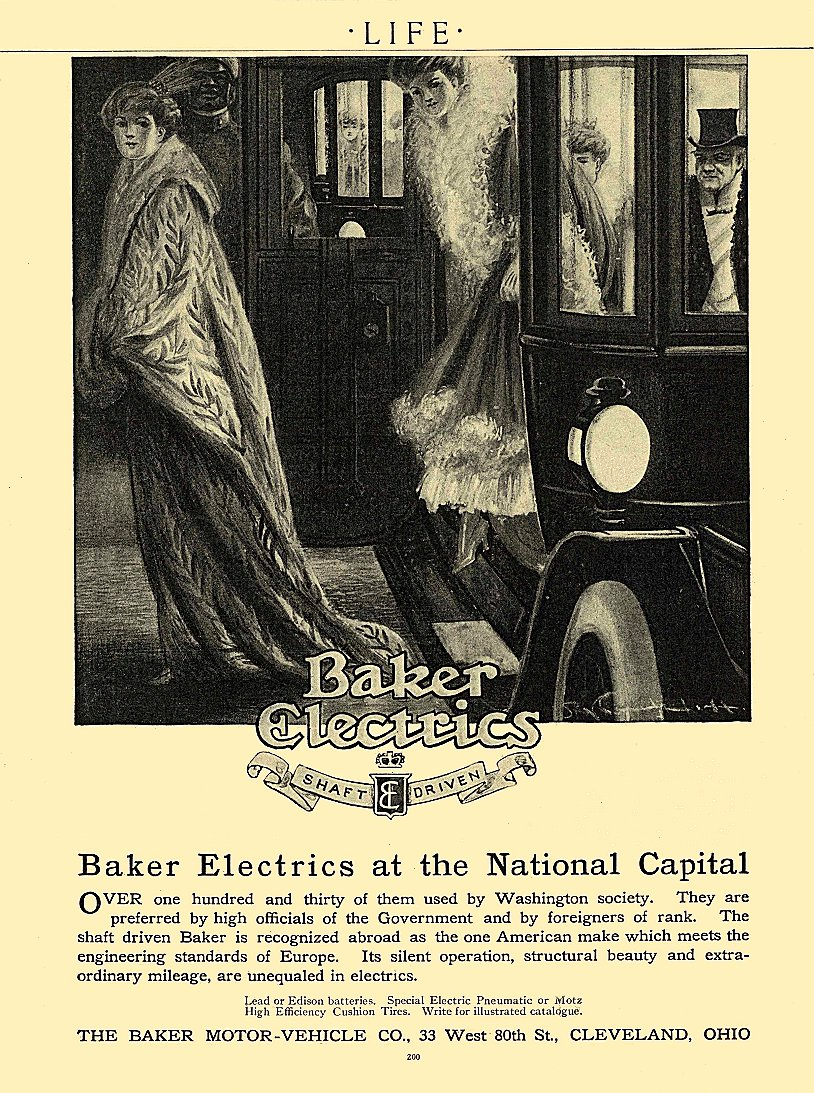 1911 1 26 BAKER Electric at the National Capital THE BAKER MOTOR-VEHICLE CO. Cleveland, OHIO LIFE January 26, 1911 8.25″x11″ page 200