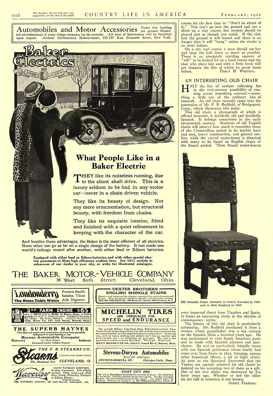 1911 2 BAKER Electric What People Like in a Baker Electric THE BAKER MOTOR-VEHICLE COMPANY Cleveland, OHIO Country Life In America February 1911 9.5″x14.25″ page cccii