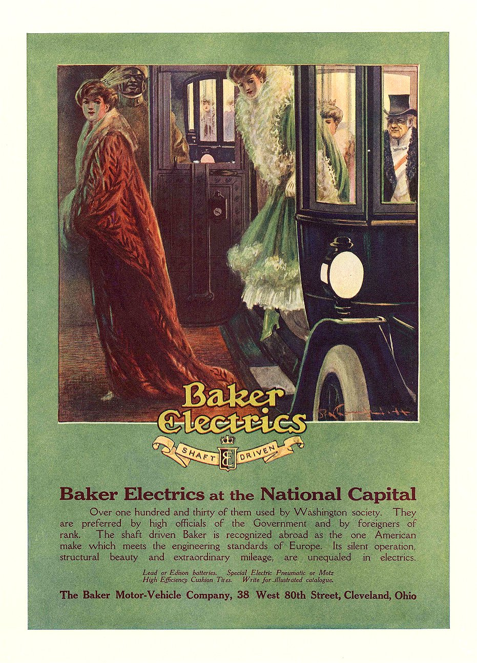 1911 1 15 BAKER Electric Baker Electrics at the National Capital The Baker Motor-Vehicle Company Cleveland, OHIO COUNTRY LIFE IN AMERICA March 15, 1911 10″x14.25″ Inside front cover