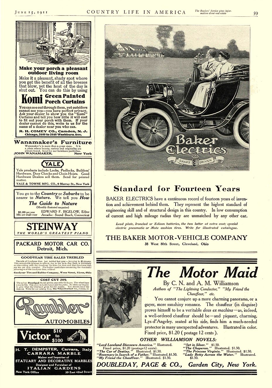 1911 6 15 BAKER Electric Standard for Fourteen Years THE BAKER MOTOR-VEHICLE COMPANY Cleveland, OHIO COUNTRY LIFE IN AMERICA June 15, 1911 10″x14″ page 59