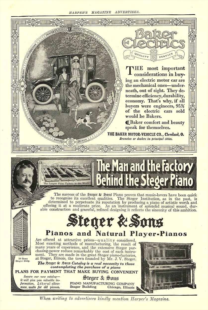 1912 10 BAKER Electric THE BAKER MOTOR-VEHICLE CO. Cleveland, OHIO HARPER'S MAGAZINE ADVERTISER October 1912 6.75″x9.5″