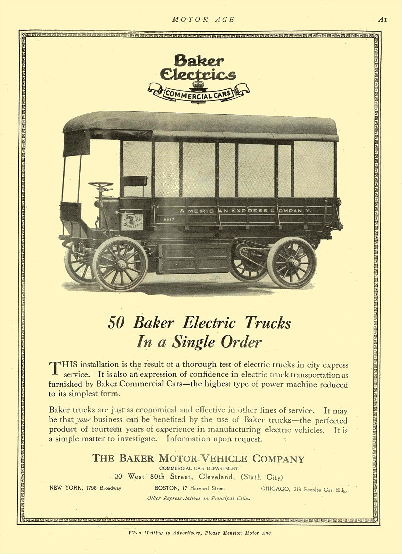 1912 1 11 BAKER Electric Truck 50 Baker Electric Trucks THE BAKER MOTOR-VEHICLE COMPANY Cleveland, OHIO MOTOR AGE January 11, 1912 8.5″x12″ page A1