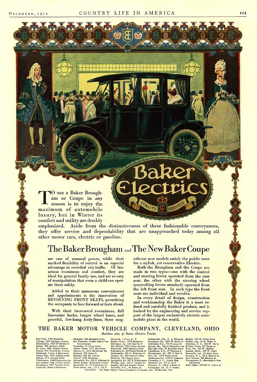 1912 12 BAKER Electric The Baker Brougham The New Baker Coupe THE BAKER MOTOR-VEHICLE COMPANY Cleveland, OHIO COUNTRY LIFE IN AMERICA December 1912 9.75″x14″ page 101