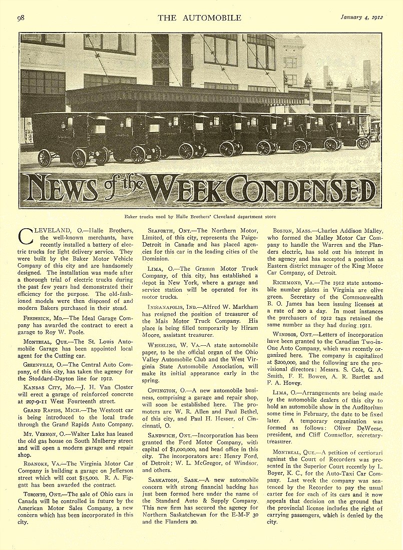 1912 1 4 BAKER Electric Baker trucks used by Halle Brother's THE BAKER MOTOR-VEHICLE CO. Cleveland, OHIO THE AUTOMOBILE January 4, 1912 8.5″x12″ page 98