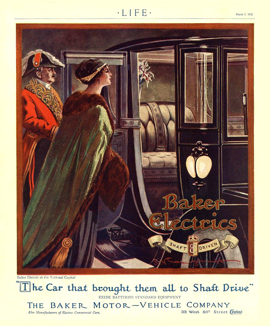 "1912 3 7 BAKER Electric ""The Car that brought them all to Shaft Drive"" THE BAKER MOTOR-VEHICLE COMPANY Cleveland, OHIO LIFE March 7, 1912 8.75″x11″"