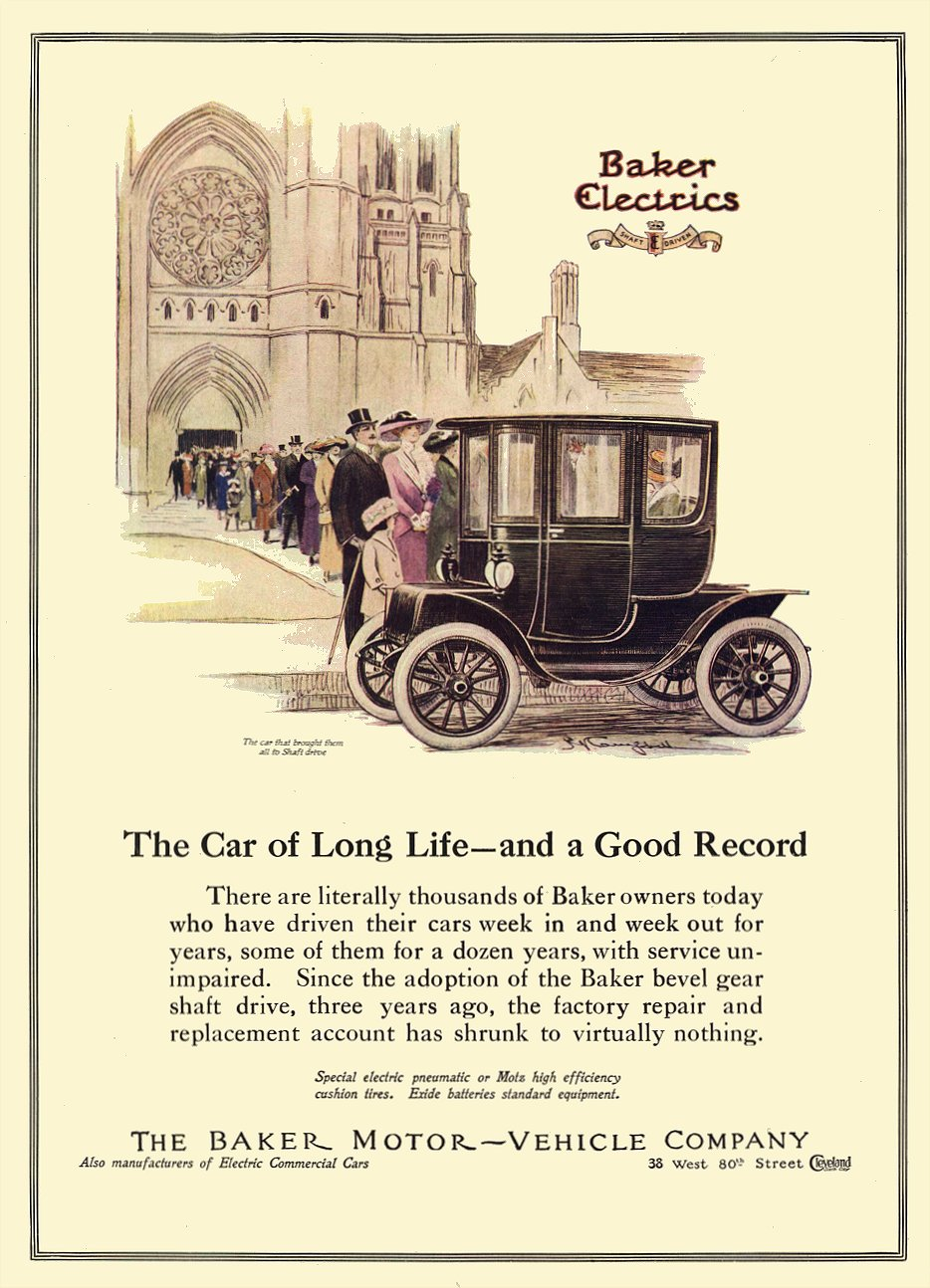 1912 3 BAKER Electric The Car of Long Life – And a Good Record THE BAKER MOTOR-VEHICLE COMPANY Cleveland, OHIO COUNTRY LIFE IN AMERICA March 1912 9.5″x13.25″