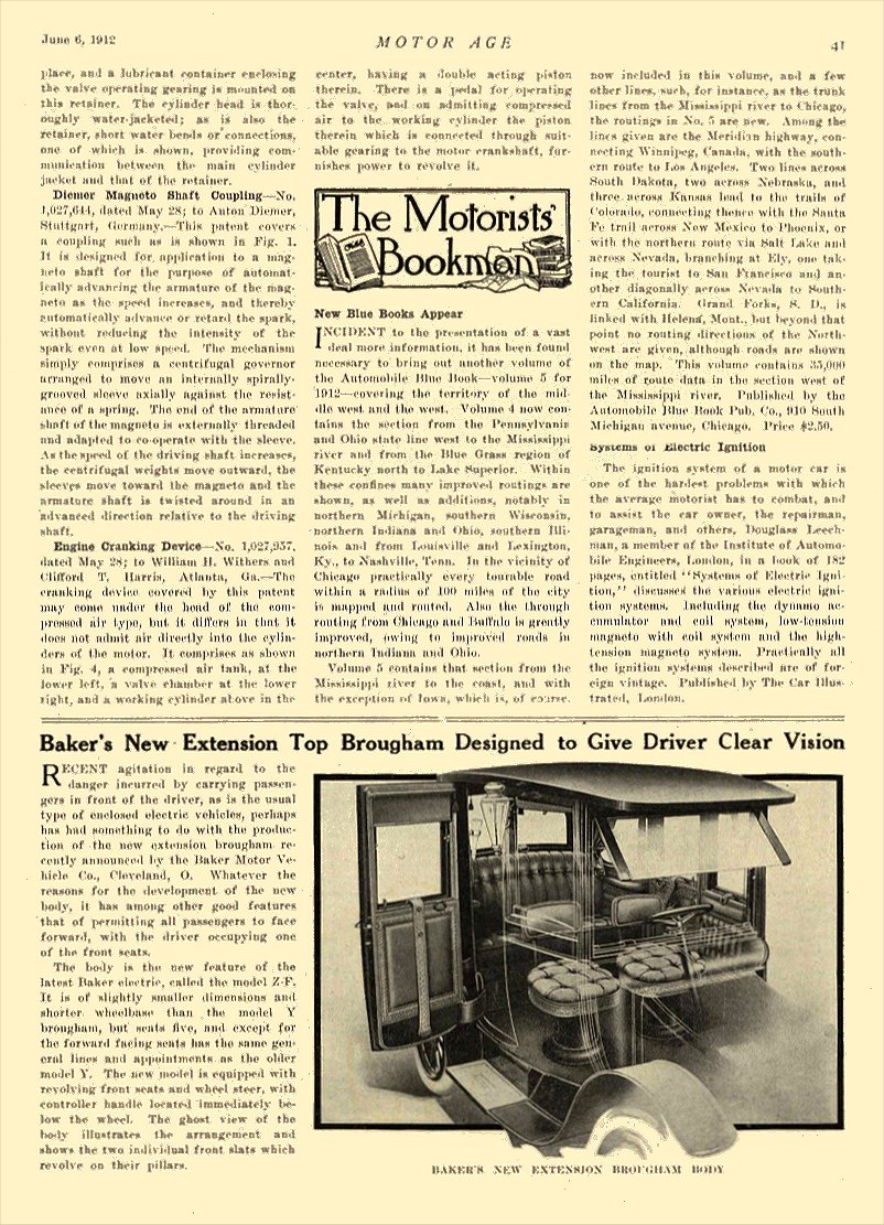1912 6 6 BAKER Electric Baker's New Extension Top Brougham THE BAKER MOTOR-VEHICLE COMPANY Cleveland, OHIO MOTOR AGE June 6, 1912 8.5″x12″ page 41
