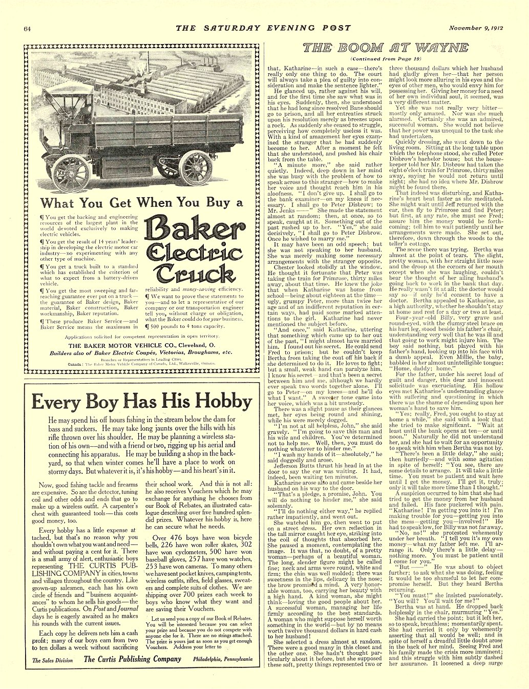 1912 11 9 BAKER Electric Truck What You Get When You Buy a THE BAKER MOTOR VEHICLE CO. Cleveland, OHIO THE SATURDAY EVENING POST November 9, 1912 11″x14″ page 64