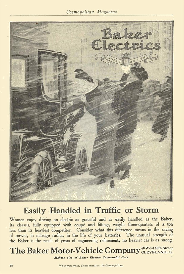 1912 BAKER Electric Easily Handled in Traffic or Storm The Baker Motor-Vehicle Company Cleveland, OHIO Cosmopolitan Magazine 1912 6.5″x9.75″ page 52