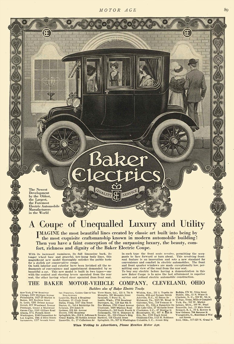 1912 10 3 BAKER Electric A Coupe of Unequalled Luxury and Utility The Baker Motor Vehicle Company Cleveland, OHIO MOTOR AGE October 3, 1912 8.5″x12″ page 89