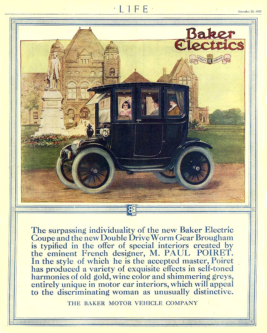 1913 11 20 BAKER Electric The surpassing individuality THE BAKER MOTOR VEHICLE COMPANY Cleveland, OHIO LIFE November 20, 1913 8.5″x10.75″