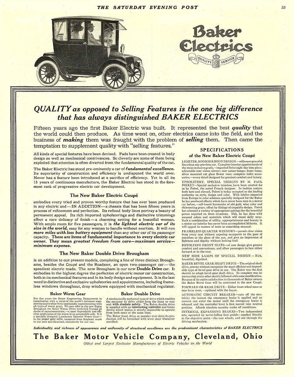 1913 11 8 BAKER Electric Truck QUALITY as opposed to Selling Features THE BAKER MOTOR VEHICLE CO. Cleveland, OHIO THE SATURDAY EVENING POST November 8, 1913 10.25″x13″ page 33