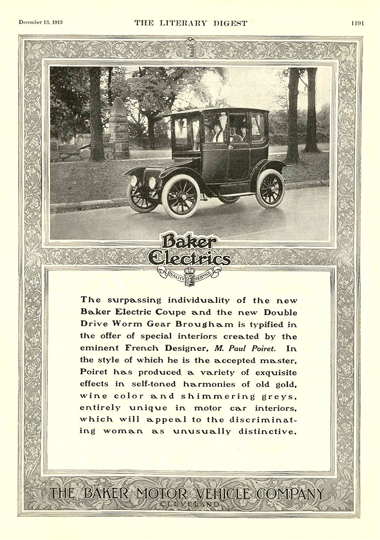 1913 12 13 BAKER Electric French Designer, M. Paul Poiret THE BAKER MOTOR VEHICLE COMPANY Cleveland, OHIO The Literary Digest December 13, 1913 9″x12″ page 1191