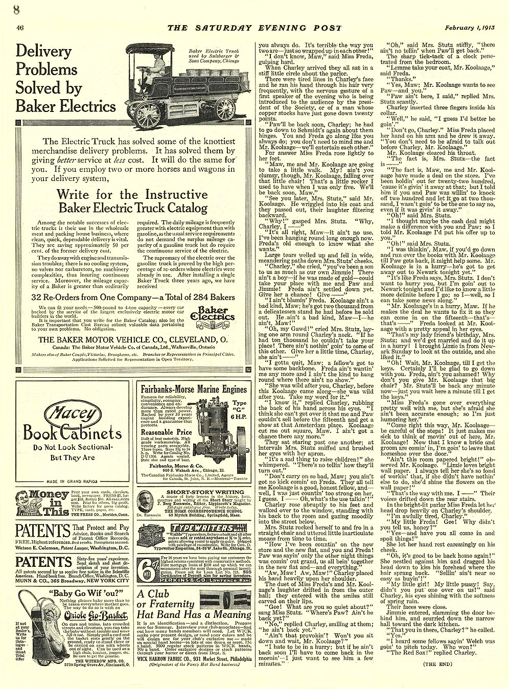 1913 2 1 BAKER Electric Truck Delivery Problems Solved by Baker THE BAKER MOTOR-VEHICLE CO. Cleveland, OHIO THE SATURDAY EVENING POST February 1, 1913 9.75″x13.5″ page 46