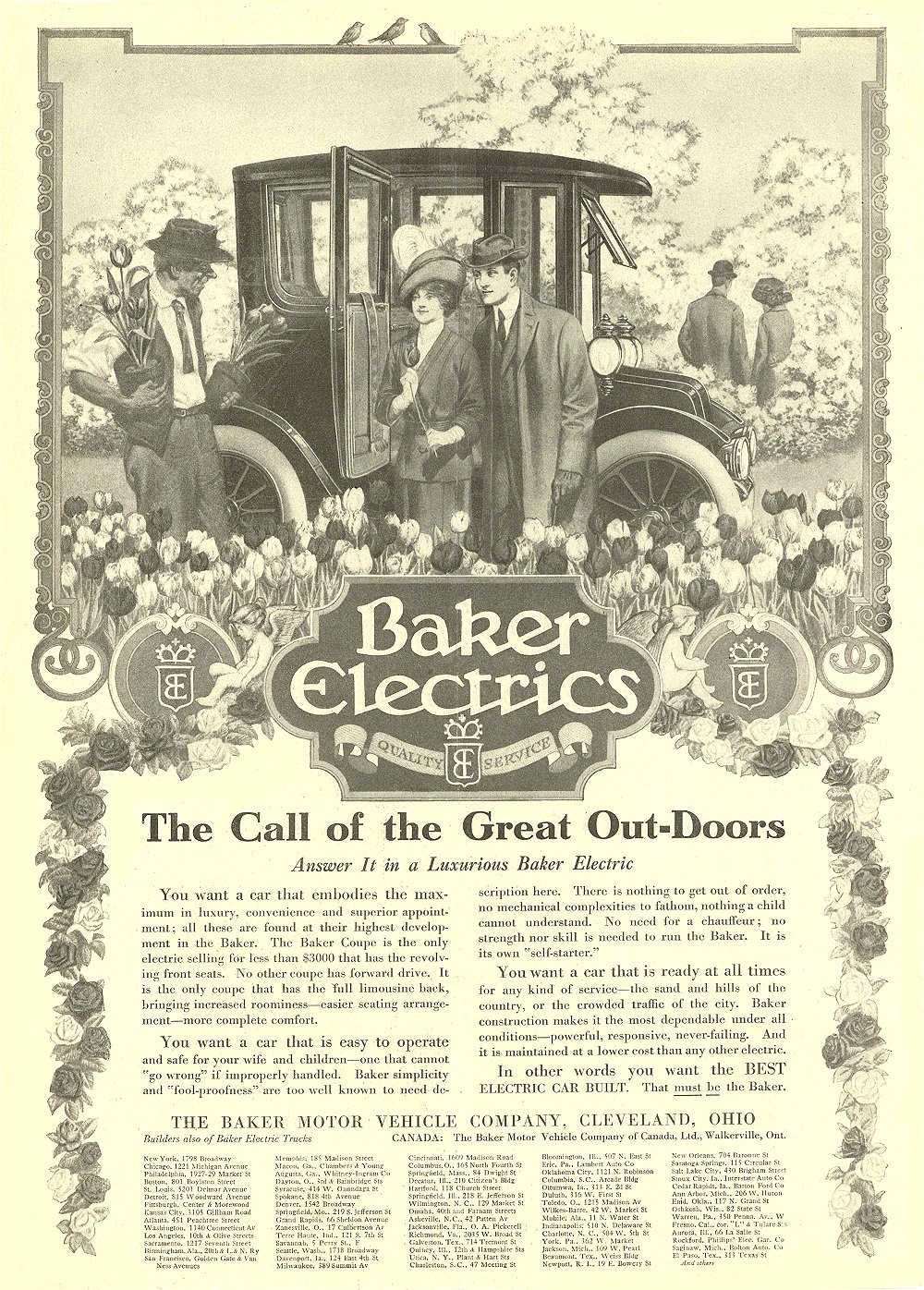1913 3 29 BAKER Electric The Call of the Great Out-Doors THE BAKER MOTOR VEHICLE COMPANY Cleveland, OHIO Collier's March 29, 1913 10.25″x14″ Inside front cover