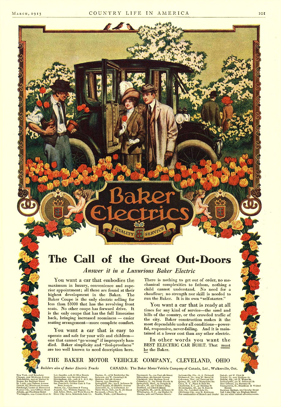 1913 3 BAKER Electric The Call of the Great Out-Doors THE BAKER MOTOR VEHICLE COMPANY Cleveland, OHIO COUNTRY LIFE IN AMERICA March 1913 9.5″x14.25″ page 101