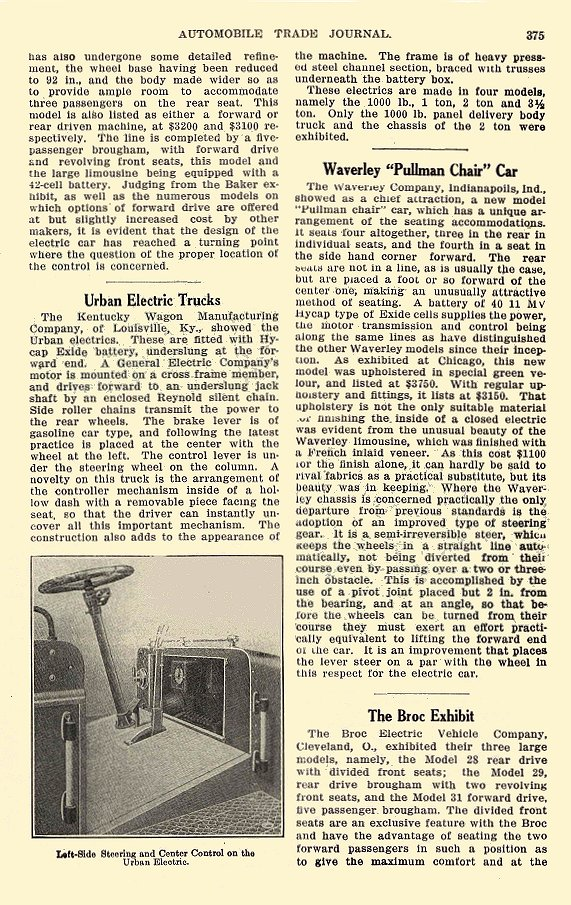 1913 3 BAKER Electric New Electric Models Exhibited at Chicago The Baker Motor Vehicle Company Cleveland, OHIO AUTOMOBILE TRADE JOURNAL March 1913 6.25″x9.5″ page 375