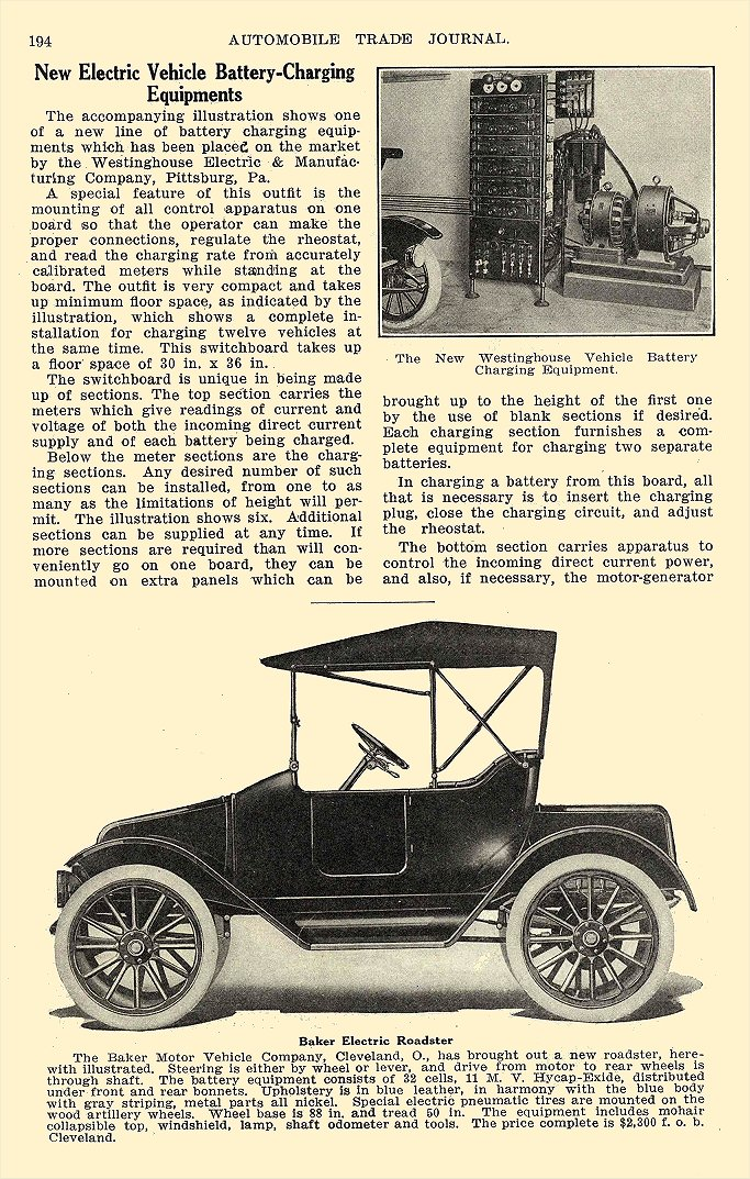1913 4 BAKER Electric Baker Electric Roadster The Baker Motor Vehicle Company Cleveland, OHIO AUTOMOBILE TRADE JOURNAL April 1913 6″x9.5″ page 194