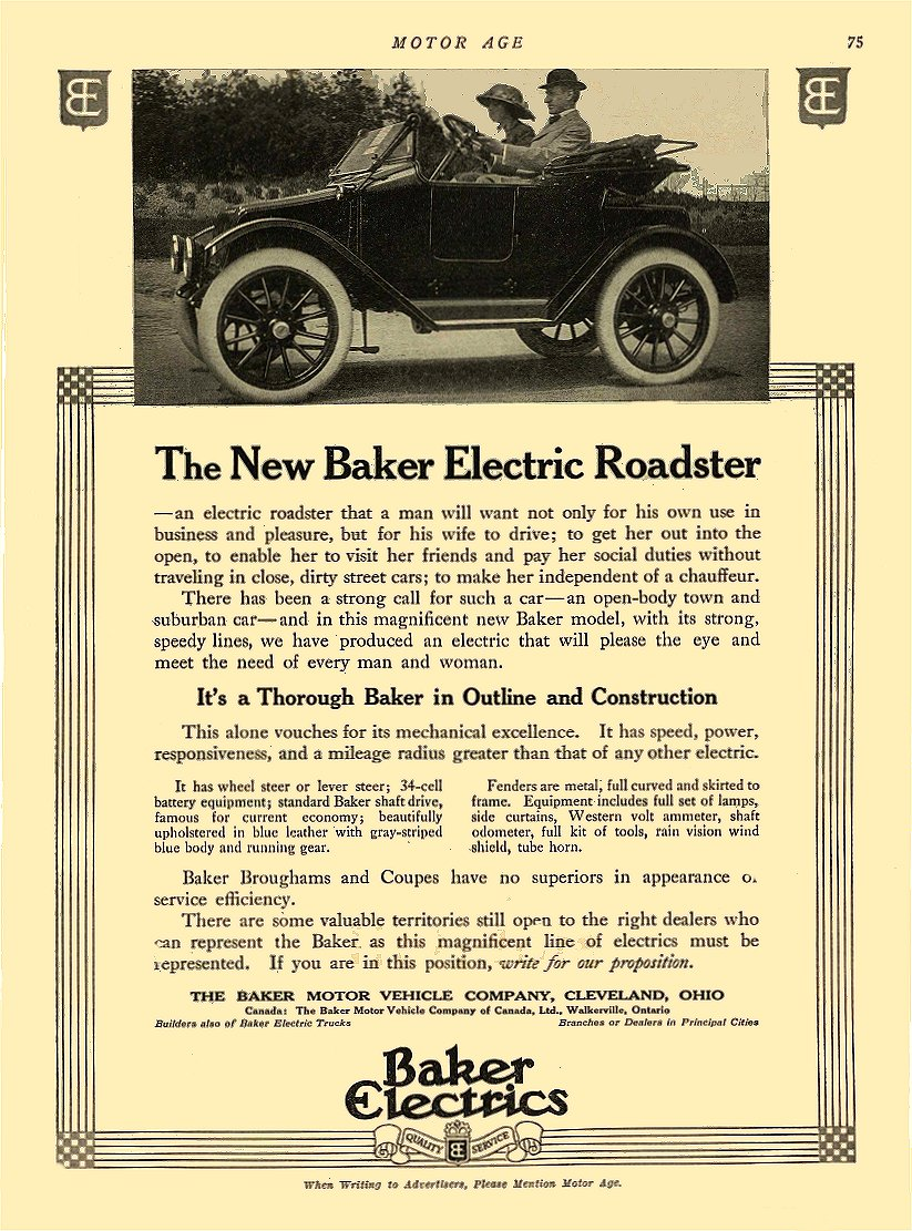 1913 5 29 BAKER Electric The New Baker Electric Roadster THE BAKER MOTOR-VEHICLE COMPANY Cleveland, OHIO MOTOR AGE May 29, 1913 8.25″x12″ page 75