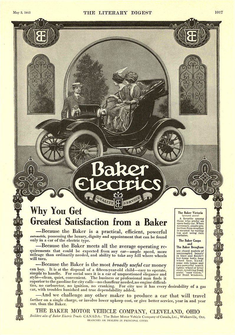 1913 5 3 BAKER Electric Why You Get Greatest Satisfaction from a Baker THE BAKER MOTOR VEHICLE COMPANY Cleveland, OHIO The Literary Digest May 3, 1913 9″x12″ page 1017
