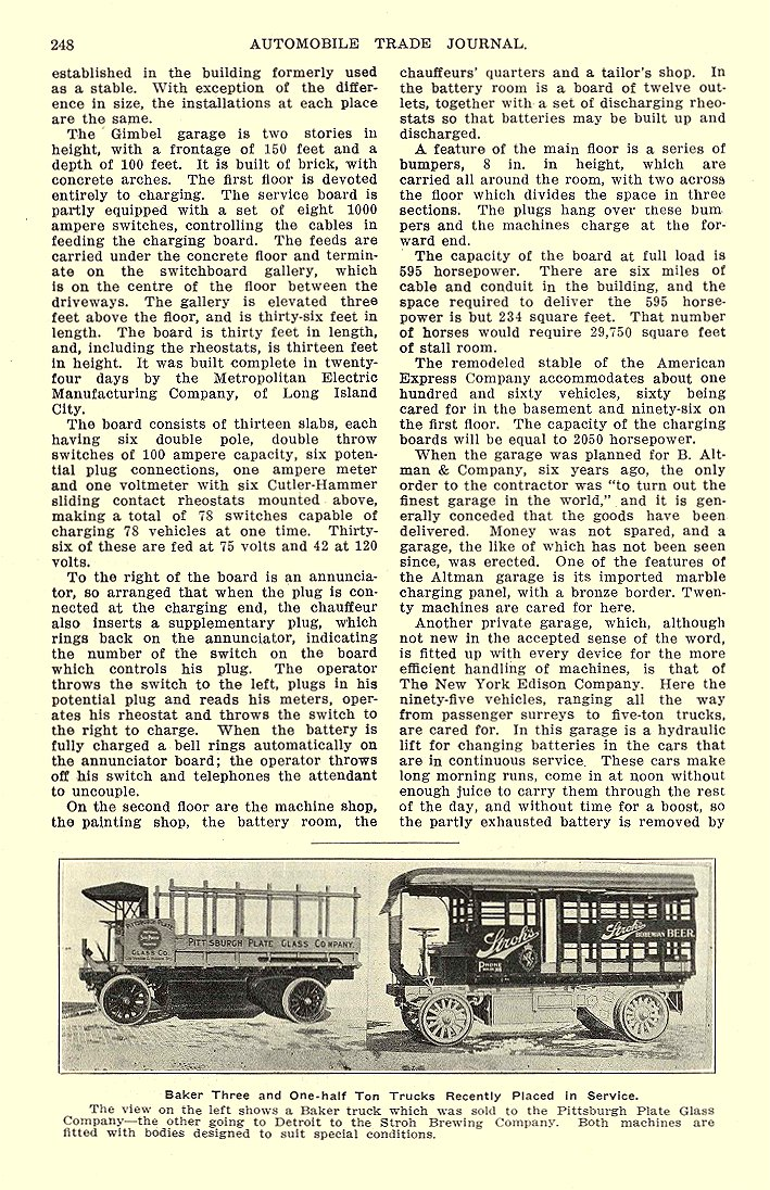 1913 5 BAKER Electric Truck Baker Three and One-half Ton Trucks The Baker Motor Vehicle Company Cleveland, OHIO AUTOMOBILE TRADE JOURNAL May 1913 6.25″x10″ page 248