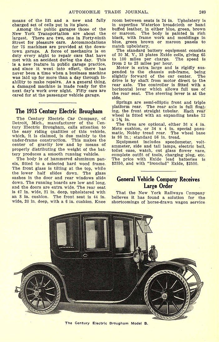 1913 5 BAKER Electric Truck Baker Three and One-half Ton Trucks The Baker Motor Vehicle Company Cleveland, OHIO AUTOMOBILE TRADE JOURNAL May 1913 6.25″x10″ page 249