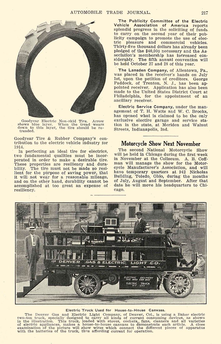 1913 8 BAKER Electric Truck Denver Gas & Electric Light Co. The Baker Motor Vehicle Company Cleveland, OHIO AUTOMOBILE TRADE JOURNAL August 1913 6″x9.5″ page 217